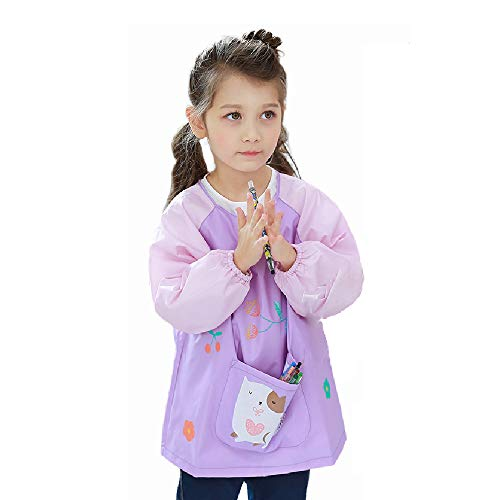 Kids Waterproof Art Aprons Children Painting Smock with Long Sleeves for Painting and Baking, 6 Kinds of Lovely Animals Pattern - Washable & Reusable (M, Purple Cat)