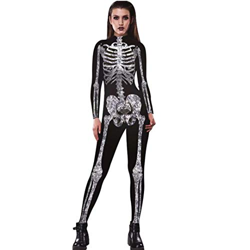 Tsyllyp Womens 3D Halloween Skeleton Costumes Cosplay Jumpsuit Sexy Bodysuit ()