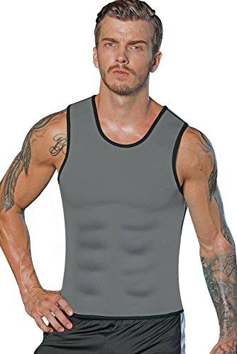 Mens Neoprene Sweat Vest Sauna Slimming Top Hot Body Shaper Trainer Weight Loss, GRAY, X-Large Review