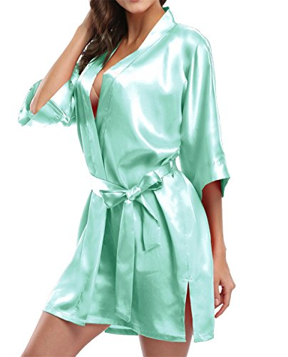 Giova Pure Color Satin Short Silky Bathrobe Sleepwear Nightgown Pajama,Mint Green,Large