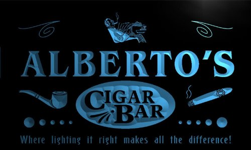 qz270-b Alberto's Cigar Bar Pipe Beer Wine Lounge Neon Light Sign