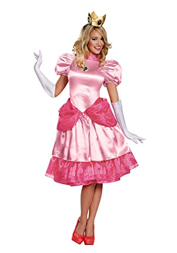 Disguise Women's Nintendo Super Mario Bros.Princess Peach Deluxe Costume, Pink, Small/4-6