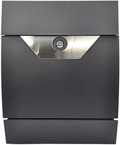 Postkasten mit Zeitungsfach Design-Briefkasten Wandbriefkasten BX300S Schwarz Zeitungsrolle