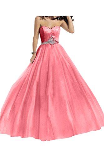 Toscana novia para mujer vestidos de gasa en forma de corazón por la noche vestido largo Prom bola vestidos de fiesta Wassermelone