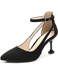 Women's Pointed Toe Ankle Strap Kitten Mid Heel Pumps