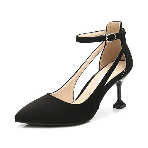 OCHENTA Women's Pointed Toe Ankle Strap Kitten Mid Heel Pumps Velvet Black Tag 38 - US (Ankle Strap Pointed Toe Pumps)
