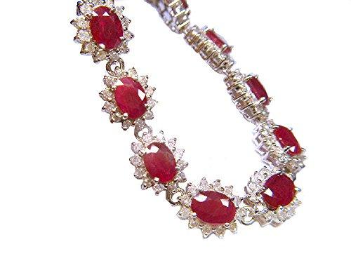 20.09carats Rubis et Diamant Bracelet en or blanc 14K