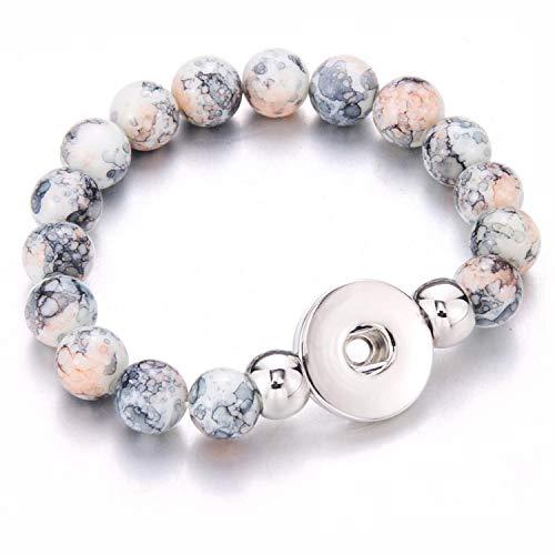 Friendshiy Snap Jewelry Men Bracelet Handmade Beaded Snap Bracelets Fit 18mm Snap Button Jewelry Natural Stone Beads Bracelet Bangles,Gray