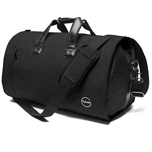 Crospack Garment Bag for Travel Suit Bag Duffle for Men Weekender Handbag with Shoe Compartmen Black
