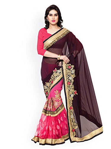 Indian Embroidered Kalista amp; Export Saree Brown Pink Handicrfats r6qCxwr