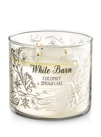 Bath and Body Works White Barn Candle 3 Wick 14.5 Ounce Coconut Snowflake (Metal White Snowflakes)
