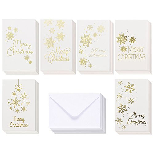 48-Pack Merry Christmas Greeting Cards Bulk Box Set - Winter Holiday Xmas Greeting Cards in 6 Gold Foil Designs, Envelopes Included, 4 x 6 Inches Christian Christmas Cards