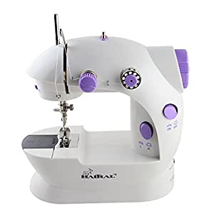 HAITRAL Sewing Machine Mini 2-Speed Double Thread, Double Speed, Portable Sewing Machine With Light and Cutter,White /Purple
