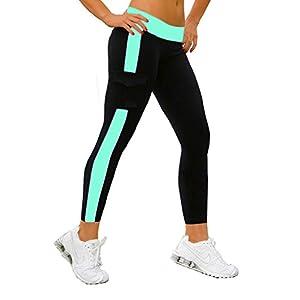 iLoveSIA Women's Tight Ankle Legging Capri US Size L Black+Lake Blue