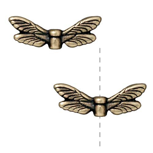Brass Oxide Finish Pewter Dragonfly Wing Beads 20mm (2)