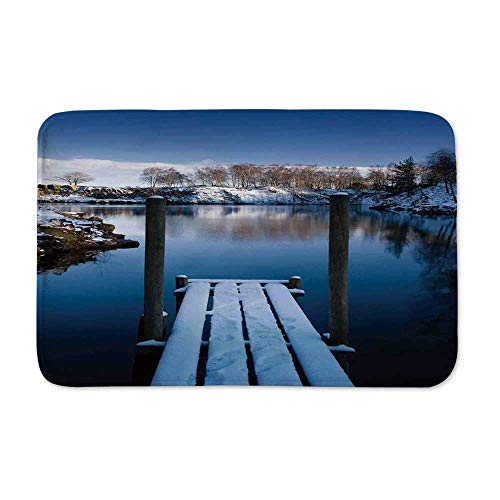 YOLIYANA Art Anti Slip Rubber Back Doormat,Photo of Wooden Deck on The Shore of a Small Lake in Winter Sweden Frozen Northern for Living Room,23