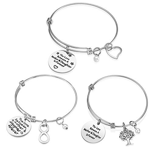 iJuqi Mom Gifts from Daughter Son - 3PCS Stainless Steel Expendable Motivational Charm Bangle Bracelets Set for Mother
