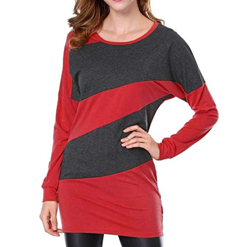 Panelled Pencil Skirt - Clearance Sale! Seaintheson Womens Autumn Casual Long Sleeve O Neck Panelled Long T Shirts Tunic Tops Round Neck Blouse