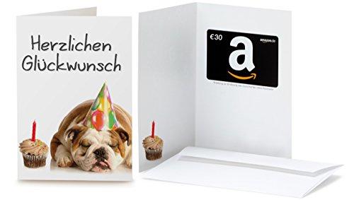 Amazon.de Grußkarte mit Geschenkgutschein - 30 EUR (Geburtstag Bulldog)