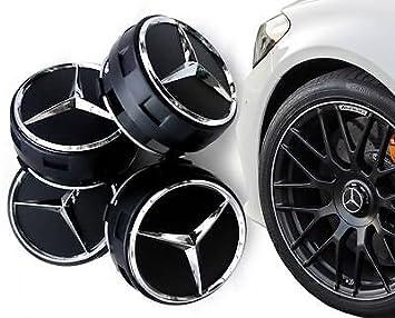 Centros de rueda AMG Mercedes Benz color negro, 75 mm, 4 unidades (A B C D S SLK A45 AMG): Amazon.es: Coche y moto