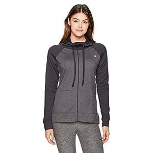 Champion Women's Performance Fleece Full-Zip Jacket, Granite Heather/Black, Large