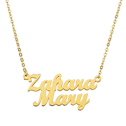 Personalized Custom Double Name Necklace 925 Sterling Silver Gold (Double Name Necklace)