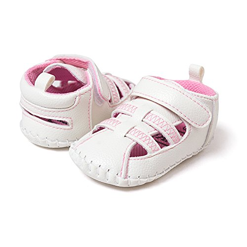 Pueri Zapatos de bebé Super suave Sandalias de los bebés del verano Zapatos infantiles Diseño generoso Ligero y cómodo rosado