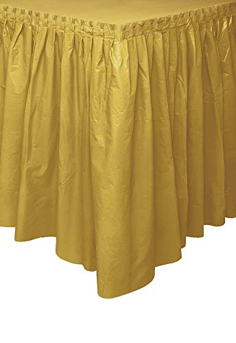 Unique Industries, Plastic Table Skirt, Party Supplies - Gold, 29 Inches x 14 Feet
