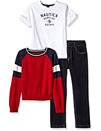 Nautica Boys Raglan Sweater, Short Sleeve Tee and Denim Pant Set