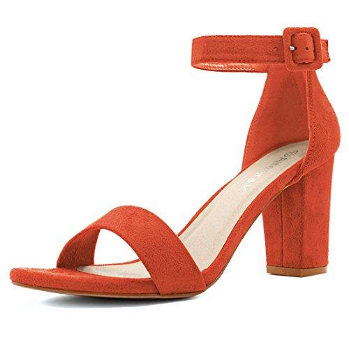 Allegra K Women Chunky Heel Ankle Strap Sandals Orange