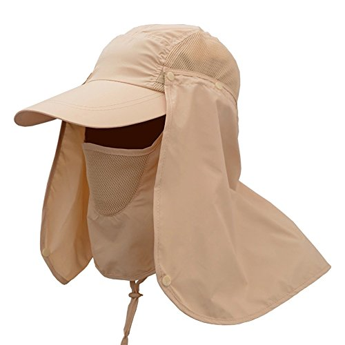 JITTY Sun Cap UV Protection Removable Neck & Face Flap Cover Caps for Baseball Summer Outdoor Hiking Cycling Fishing Gardening Hunting Camping (Khaki)