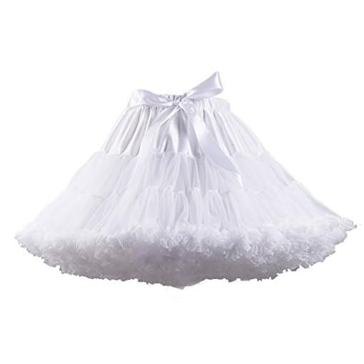 Women s Elastic Waist Chiffon Petticoat Puffy Tutu Tulle Skirt ... 1bddfabd36c1