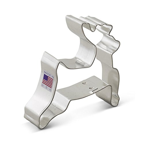 Ann Clark Leaping Reindeer / Deer Cookie Cutter - 3.6 Inches - USA Made Steel (Rudolph Cookie)