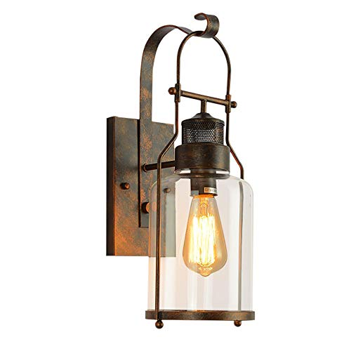 Rust Wall Lamp - Lightess Glass Sconces Retro Farmhouse Wall Lights Antique Rust Wall Lamp for Barn Kitchen Bedroom, DYS570