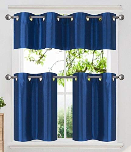 DiamondHome 3 Piece Faux Silk Grommet Lined Thermal Blackout Kitchen Window Curtain Set 2 Tiers & 1 Valance, K7 (Royal Blue)