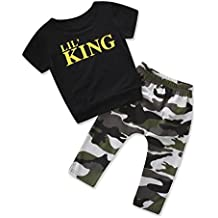 Lanpan Baby Boy Letter T Shirt Tops+Camouflage Pants Outfits Clothes Set