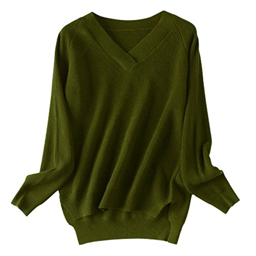 Casual Women's V-neck 100% Cashmere Wool Sweater (XXL, army green) ()