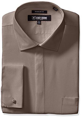 (STACY ADAMS Men's 39000 Solid Dress Shirt, Steel, 16.5