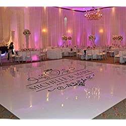 LuxeArt Wedding Dance Floor Decal Vinyl Sticker Custom Name & Date Suit for Wall Window Door Floor Art Removable Mural Decoration, Black M: 112X152CM