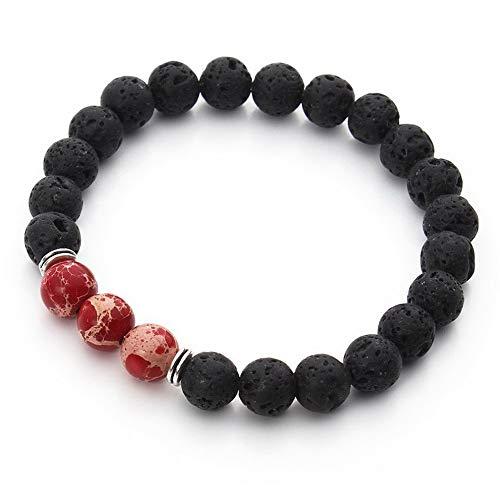- Mikash Black Lava Sea Sediment Jasper Mala Beads Beaded Mediation Energy Bracelet L24 | Model BRCLT - 11022 |