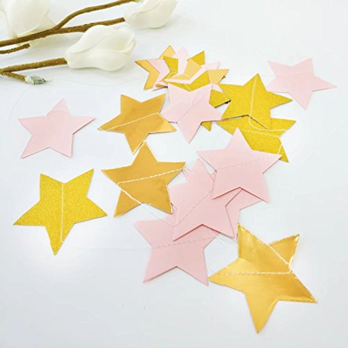 AZOWA 4 Pack Glitter Gold Pink Star Shap Paper Garland Five-point Star Garlands for Christmas Birthday Party Baby Shower Wedding Shower Engagement Decorations Table Decor ( 4 Pcs, 33 ft) Christmas Party Decorations Online