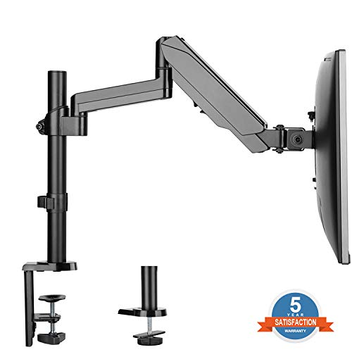 Single Arm Monitor Desk Mount Stand, Height Adjustable Full Motion Gas Spring Monitor Mount Riser with C Clamp/Grommet Base Fits 17
