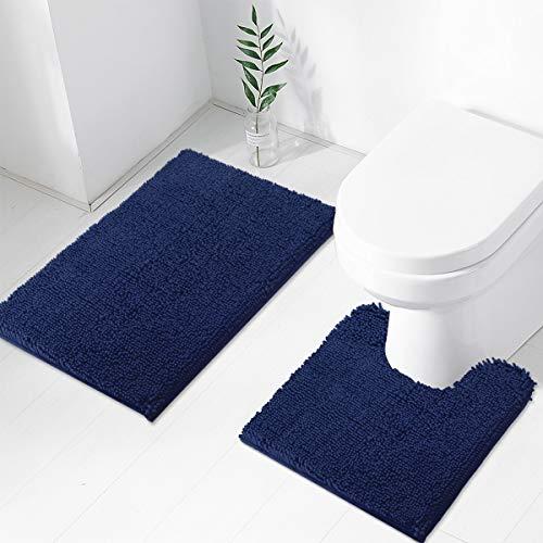 TREETONE Chenille Bath Mat 2 Piece Bathroom Rugs Set , 20×20 Inchs U-Shape Contoured Toilet Mat & 20×32 Inchs Rug ,Soft…