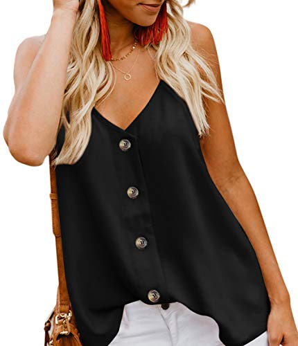 CASILY Womens Fashion Button Down V Neck Sleeveless Strappy Shirts Tank Tops Black, Large (Best Black Jeans That Won T Fade)