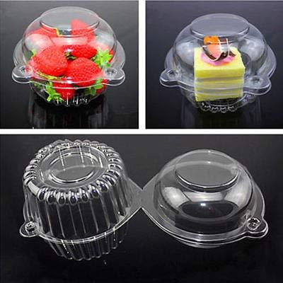 FidgetGear 100/200 Clear Plastic Single Cupcake Cake Case Muffin Pod Dome Holder Box 100PC from FidgetGear