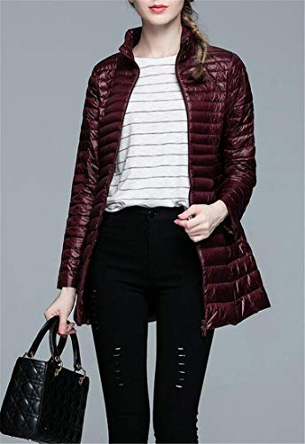 Puffer amp;E Coats Womens Zipper Front Wine Lightly Down Slim H Plain Red Outerwear YvOpdq