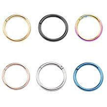 Rimi 16G Unisex Surgical Stainless Nose Hoop Ring Earring Hinged Clicker Seamless Segment Helix Daith Cartilage Lip Piercing 8mm 3-6pcs