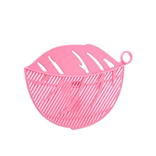 BIRD WORKS CTREE 1Pcs Creative Cleaning Rice Gadget Plastic Rice Beans Leaf Shape Washing Sieve Kitchen Clips Tools Filtering Baffle C1026: C1026 pink ()