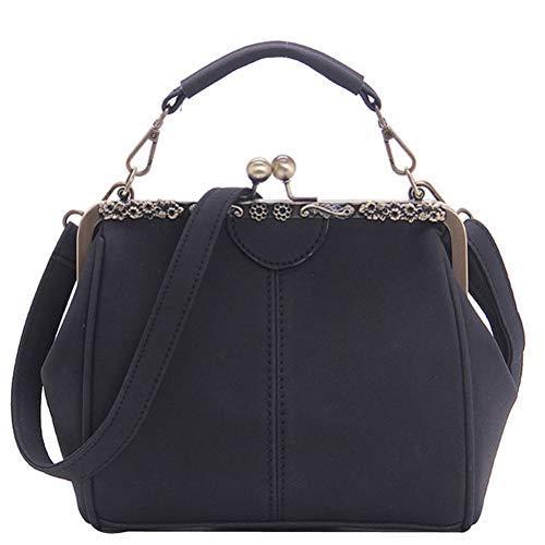 Donalworld Women Retro Kisslock Handbag Purse PU Leather Bag Metal Frame Tote Black