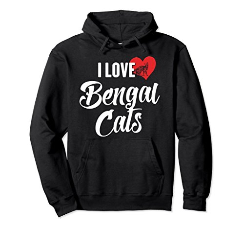 Unisex Bengal Cats Hoodie for Cat Lovers Large Black